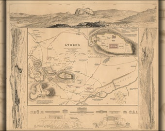 16x24 Poster; Map Of Athens Greece 1832