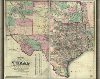 16x24 Poster; Map Of Texas & Indian Territory Oklahoma 1872