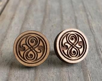 Doctor Who Wood Stud Earrings Rassilon Seal