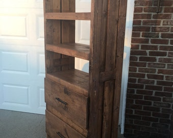 Rustic bookshelves with drawers