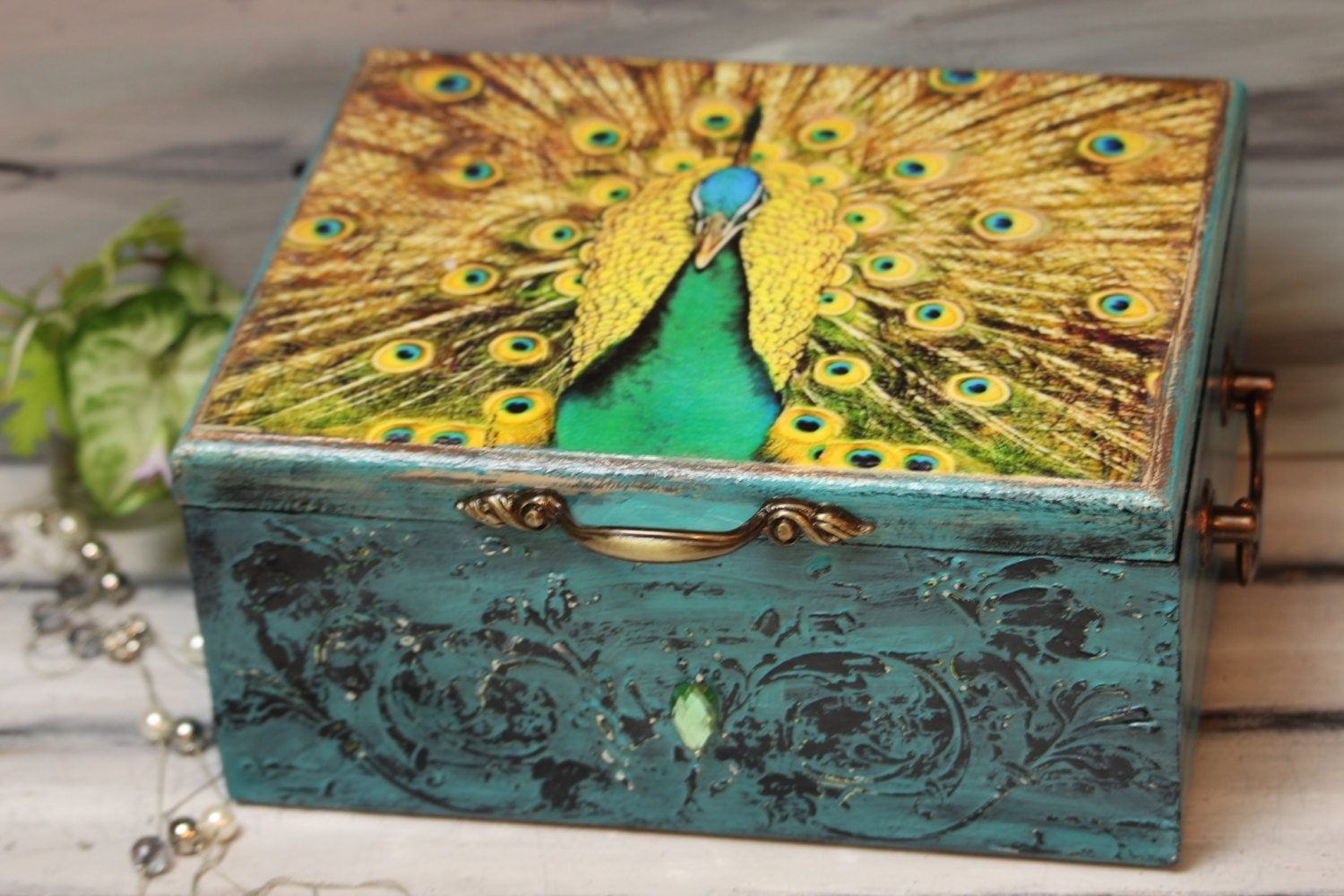 Peacock Box Peacock Cards Box Shabby Wedding Card Box – Wedding Card Keepsake Box