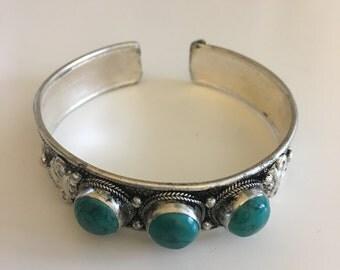 Beautiful Handcrafted Turquoise vintage Cuff Bracelet, bohemian jewelry, bohemian bracelet, Gypsy cuff, Tribal, Ethnic cuff bracelet