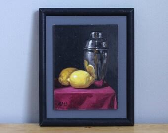 Framed Still Life Painting, Martini Shaker and Lemons Original Kitchen Art by Aleksey Vaynshteyn