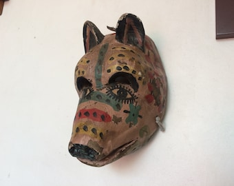 Antique mexican dance mask. Hand carved wood 40s.