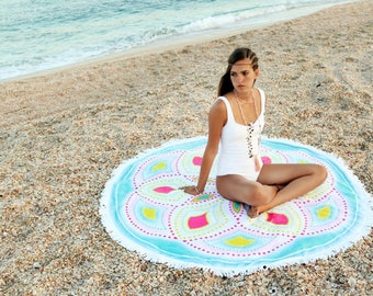 Mandala Beach Towel Round Yoga Mat Bohemian Towel Luxury Round Towel Beach Blanket Beach Throw