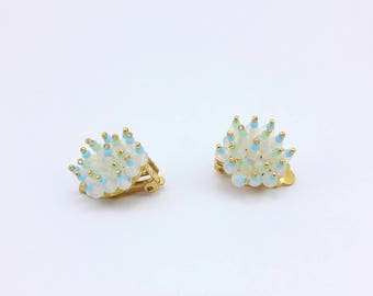 Clip On Cluster Earrings, Vintage Style, Handmade Jewelry by Detail London.