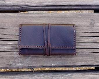 Leather cigarette case, leather cigarette case, leather cigarette case, brown leather, tobacco bag, tobacco case,  leather case