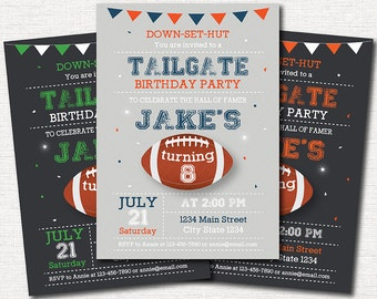 Football Tailgate Invitation, Football Invite, Sports Birthday, Sports Invitation, chalkboard, Green, Orange, Blue, printable