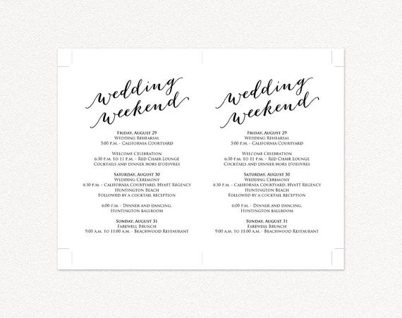 Wedding Weekend Itinerary Details Card Insert Wedding