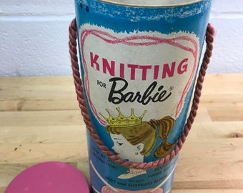 Knitting needle storage canister vintage Barbie