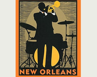 New Orleans Decal - Jazz Decal - Vintage Style Decal - Jazz Sticker - New Orleans Car Decal - New Orleans RV Decal - Jazz Laptop Sticker S97