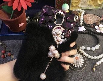 Bling Luxury Black Soft Fluffy Fur Furry Purple Crystals Sparkles Golden Love Heart Bear Pendant Gems Rhinestone Hard Cover for Mobile Phone