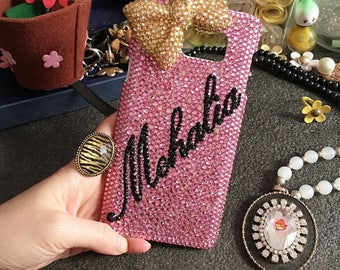 Bling Pink Personalized Capital Letter Name Diy Words Luxury Lovely Golden Bow Fashion Crystals Rhinestones Diamonds Case for Mobile Phone