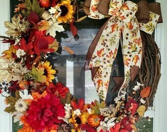 Large Fall/Autumn Grapevine Wreath
