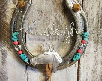 Decorated Horseshoe, Personalized Gift, Equestrian Gift, Horseshoe Decor, Cowgirl Gift, Horse Decor, Horseshoe Art, Horselover Gift