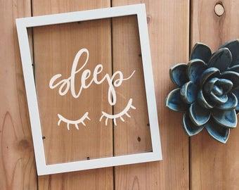 Sleep. Frame. Wall Decor. Handmade. Home Decor. Frame. Cute Quote