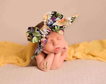 DAYLILY FLORAL Gorgeous Wrap- headwrap; fabric head wrap; floral head wrap; boho; newborn headband; baby headband; toddler headband