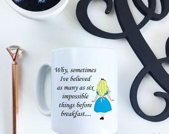Alice in WonderLand 10oz six things before breakfast ceramic Mug
