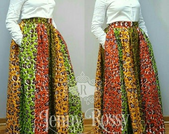 READY TO SHIP-African print Maxi skirt,high waist skirt,Ankara skirt African clothing Multi pattern skirt