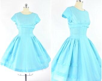 "Sky blue 1950s party dress  sz XS (B 34"" W 25"")  / Vintage 50's dress / fit and flare, full skirt, shelf bust, evening dress bridesmaid"
