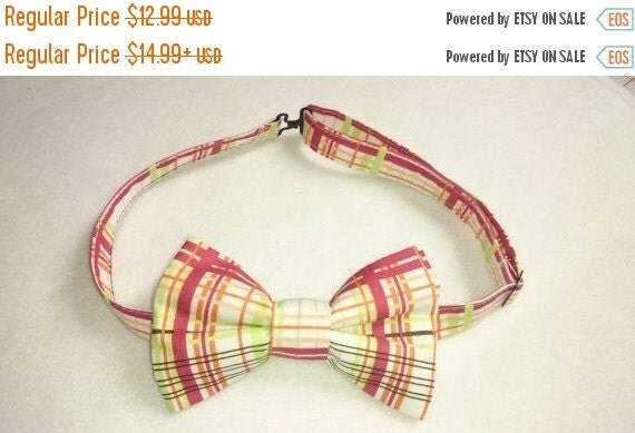 "Winter Sale Sale CLEARANCE  Adult's Pretied ""Bow Tie"" in Red, Green and Ivory Plaid"