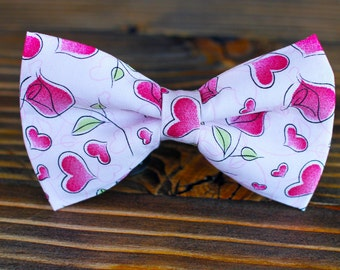 Hearts and Roses Bow Tie, Valentines Bow Tie, Boys Bow Tie, Bow Tie for Wedding, Dog Bow Tie, Mens Bow Tie, Formal Bow Tie, Bow Tie Dog