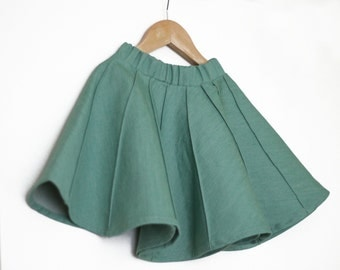 Denim girls skirt, Jeans girls skirt,Toddler skirts,Green skirt, Baby skirt, Birthday skirt, Toddler girl shirts, Flutter skirt,Green denim