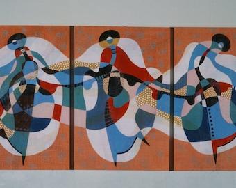 Alegria (Happiness) - 1981 original acrylic triptych painting by Jane Mitchell