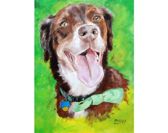 """CUSTOM pet portrait on canvas (LARGE size 20x28"""") - ONE pet -  with love to animals =) - N-Jzbl-L"""