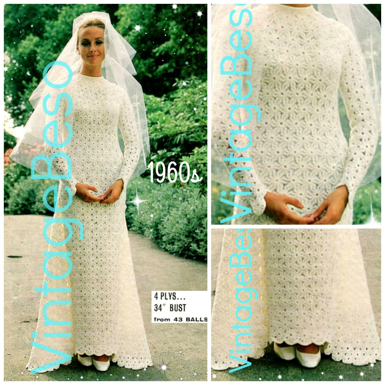 Wedding dress crochet pattern vintage 1960s requires for Wedding dress patterns free download