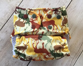 Cloth Diaper *One size or Newborn or Toddler size* All in two, Pocket, or Cover **Deer Season**