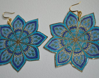 Blue Handpainted Flower earrings