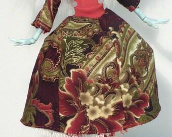 red flower paisley bell skirt