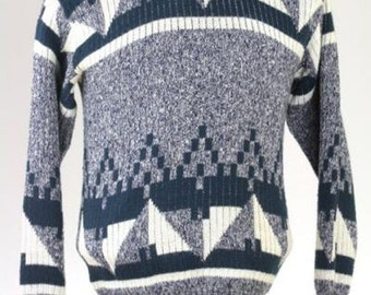 ON SALE Vintage 80s Navy Acrylic Cosby Geometric Sweater S/M