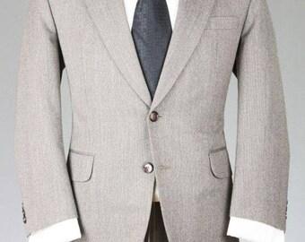 ON SALE Vintage Custom Gray Paris TWEED 100% Wool 2 Piece Wool Suit 42 S