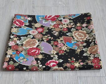 black flower fabric 1/2 yard