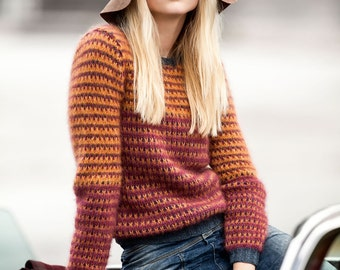 Hand knitted light kid mohair-silk pullover. XS-S-M-L-XL. 62 colors available. Light/super soft. Spring/summer trend. Made-to-order