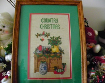 Christmas Framed Completed Cross-Stitch Picture - COUNTRY CHRISTMAS