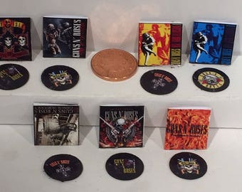 1/12th Guns and Roses Dolls House Records Set Of 7