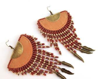 Ethnic earrings, light brown Leather and pearls earrings, Maya Inca earrings