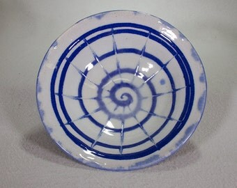 Small Blue and White Stoneware Bowl with Cobalt Spiral Decoration