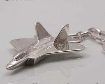 Keyring silver airplane F-22 Raptor