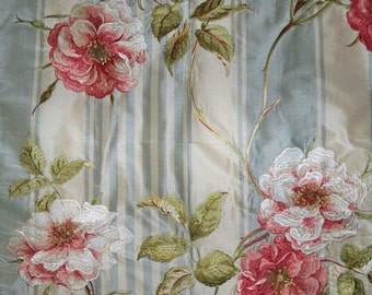 COLEFAX & FOWLER Embroidered Shabby Roses Silk Stripes Fabric 10 Yards Blue Cream Pink Green Multi
