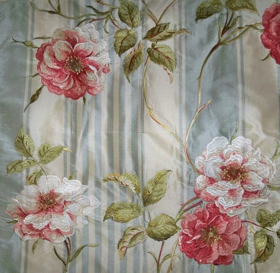 Colefax fowler embroidered shabby roses silk stripes fabric