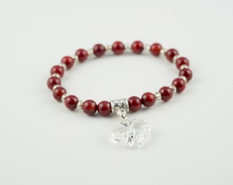 New Bamboo Red Beads with Swarovski Crystal Heart Charm