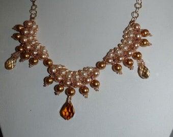 Modern Swarovski crystal bridal necklace Gold Pearl Necklace wedding necklace bridal or bridesmaid jewelry