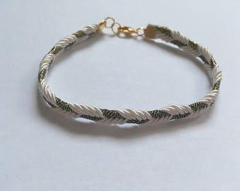 Braided white and bronze bracelet