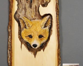 Fox Art Carved ,Wood Carving with Bark,Hand Made Gift,Wall Hanging,OOAK gift for the Fox Lovers,Hunter Gift Cabin Decoration,White,Orange