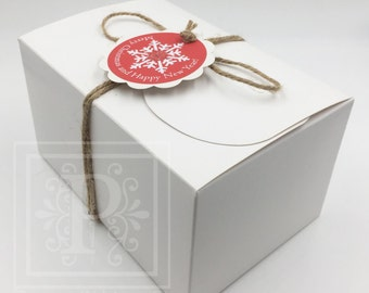 Set of 50 - Christmas Gift Boxes With Personlized Tags, Party Gift Boxes, Holiday Gift Boxes, Cookie Boxes, White Boxes