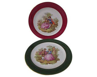 French Limoges Fragonard Dinner Plates, Pair